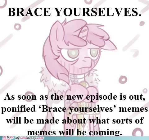 brace yourselves meme Memes my little brony new episode saturdays - 5772097792