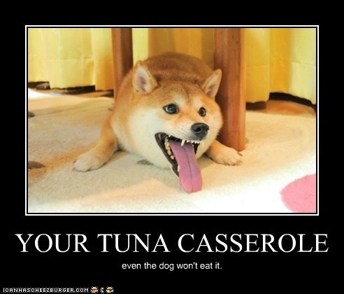 gross nope people food shiba inu tongue tongue out tuna casserole yucky - 5772954624