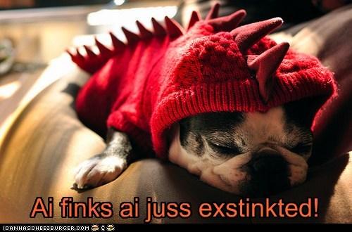 asleep costume dinosaur french bulldogs sleep tired - 5773641472