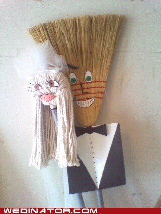 bride broom funny wedding photos groom mop