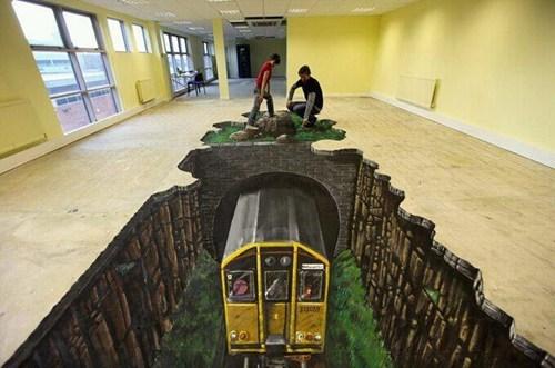 art floor illusion mural perspective Subway train - 5773659136