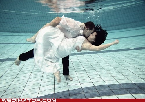 bride,dip,funny wedding photos,groom,pool,underwater