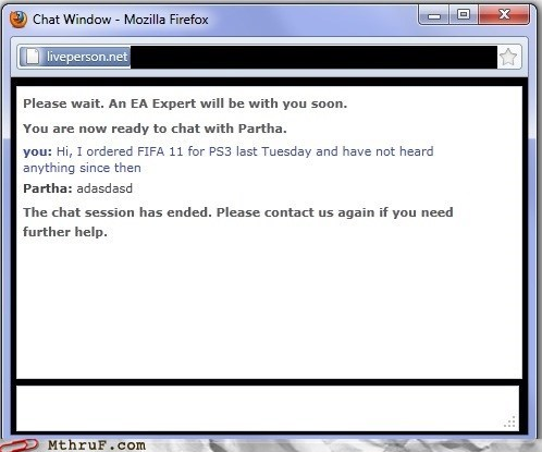 customer support delivery FIFA 11 gaming logout