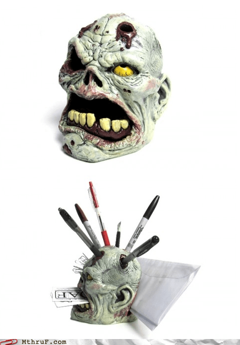 BRAAAAAAAAAAAAAINS neatorama office swag pencil holder zombie