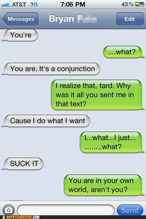 conjunction grammar random weird youre