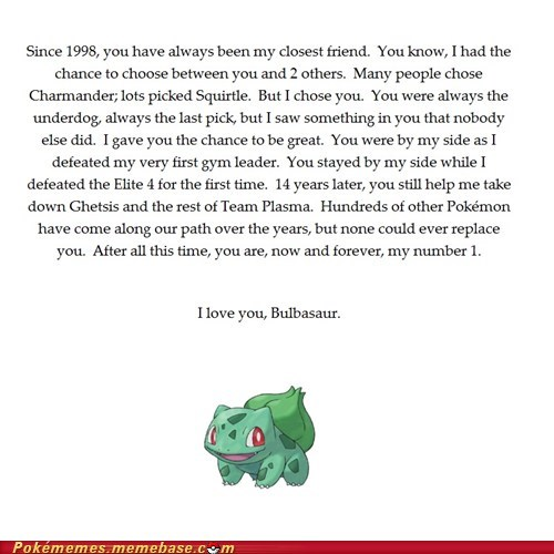 001 grass type best of week bulbasaur forever alone least chosen Pokémans starters