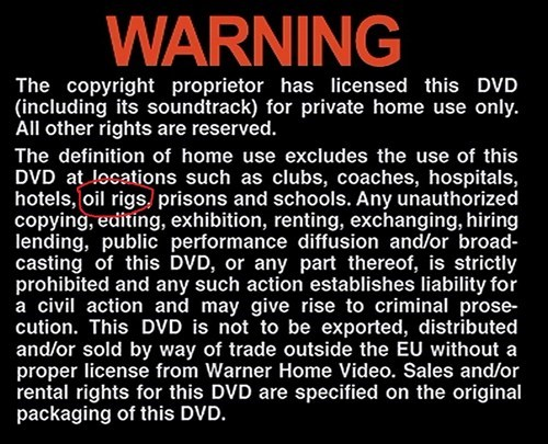 Copyright Infringement,FBI warning,home use,oil rigs