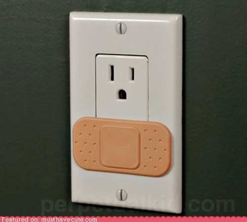 band aid,bandage,best of the week,electricity,kidproof,ouch,outlet,safety