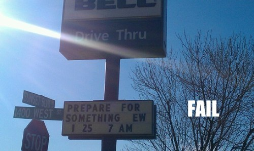 fast food irony signs taco bell