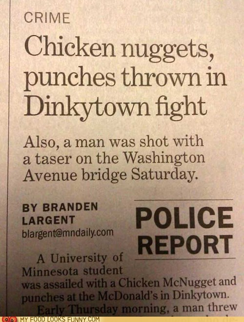 chicken nuggets,dinkytown,fight,Minnesota,news
