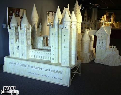 architecture,art,Harry Potter,Hogwarts,matchstick,model,nerdgasm
