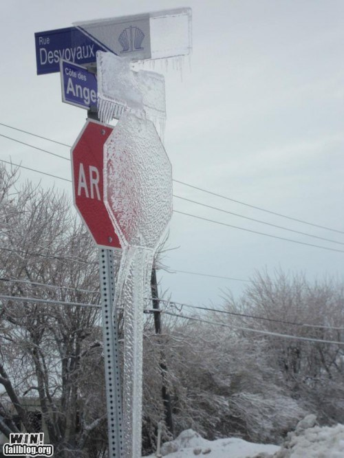 cold frozen ice sign stop sign winter - 5778898688