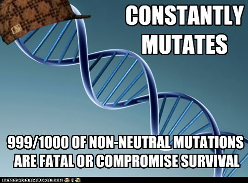 CONSTANTLY MUTATES 999/1000 OF NON-NEUTRAL MUTATIONS ARE FATAL OR COMPROMISE SURVIVAL