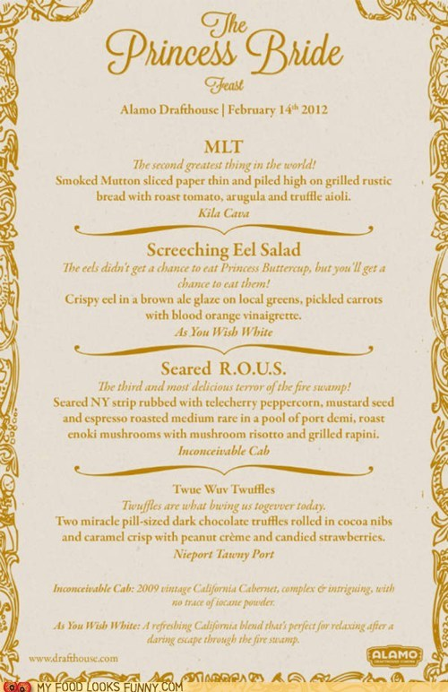 best of the week feast menu princess bride Valentines day - 5779044608