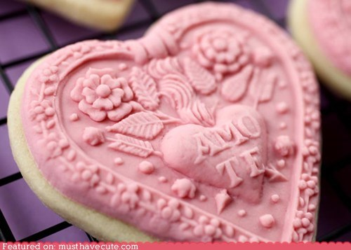 carved cookies epicute fancy heart molds ornate sugar cookies Valentines day wood - 5779100672