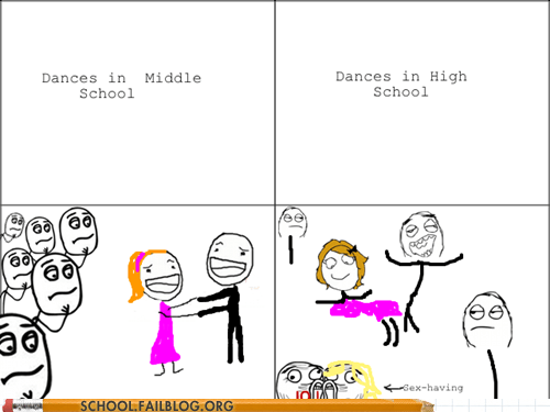 dance dancing grinding high school middle school rage comic Then And Now