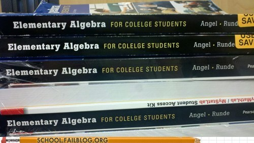 algebra,college,spelling,textbook,typo