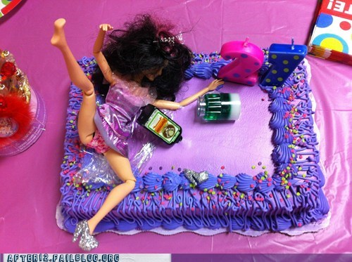 21st bday Barbie birthday cake floor jagermeister passed out - 5779701248