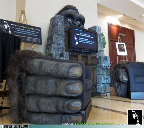 chairs,entertainment center,giant,gorilla