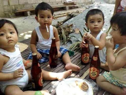 beer drinking poker night smoking tanked toddlers