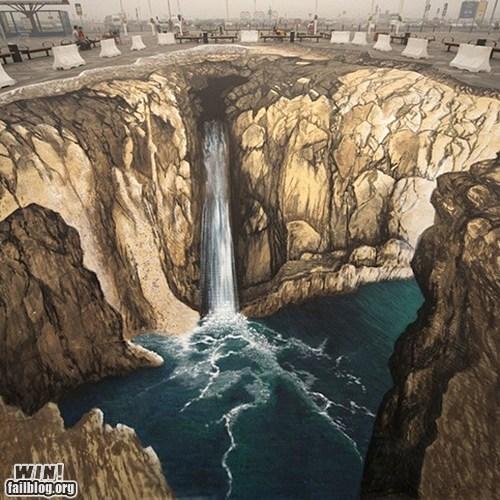 art chalk illusion Street Art waterfall - 5781006080