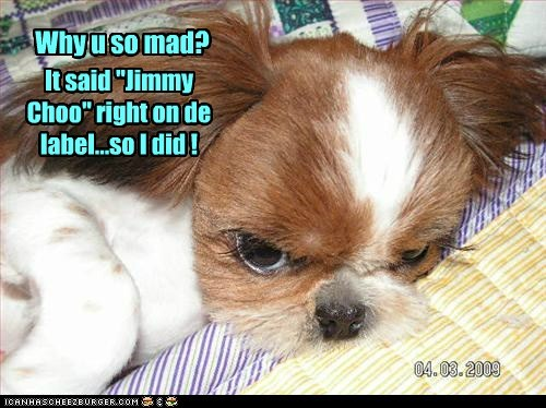 "It said ""Jimmy Choo"" right on de label...so I did ! Why u so mad?"