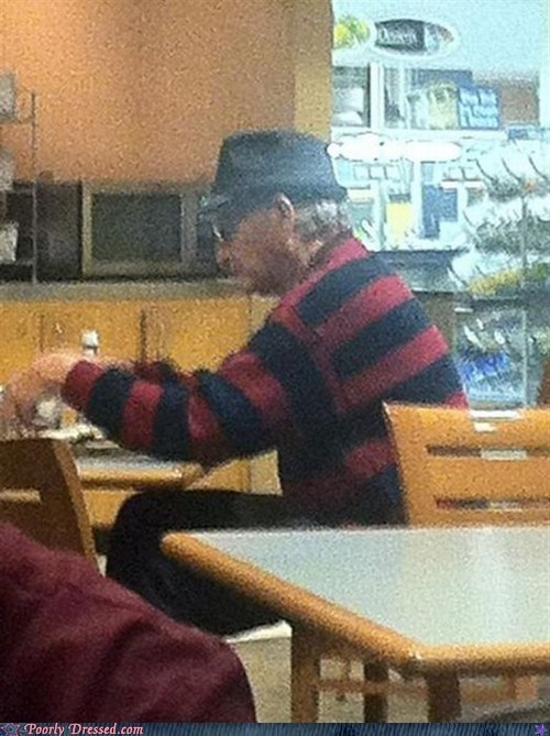 fedora,freddy kreuger,g rated,nightmare on elm street,poorly dressed,sweater