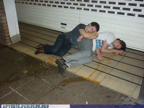 drunk,floor,gross,passed out,puking,together forever,twins,vomiting