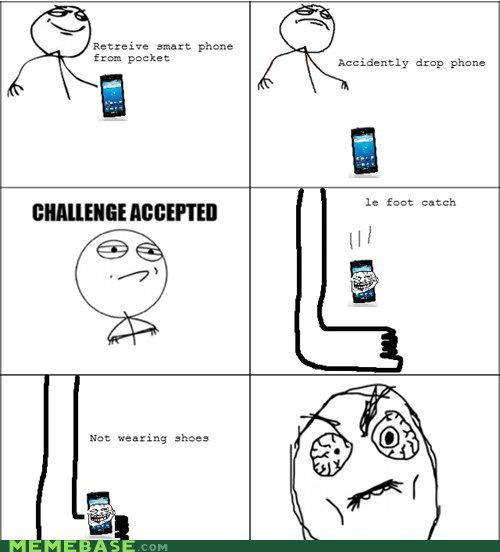 Challenge Accepted,pain,phone,Rage Comics