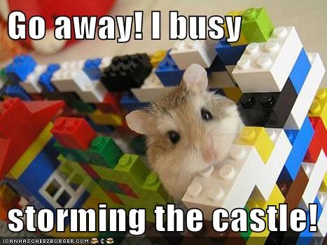 busy,caption,captioned,castle,go away,hamster,lego,legos,storming