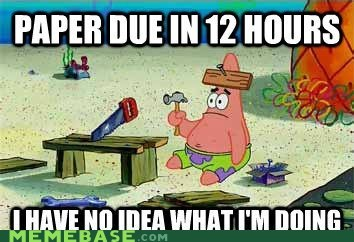 12 hours Memes paper patrick school SpongeBob SquarePants sunday - 5782920448