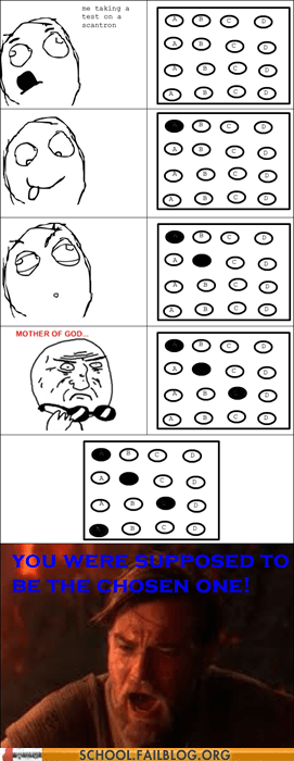chosen one multiple choice obi wan rage comic scantron star wars - 5782973184