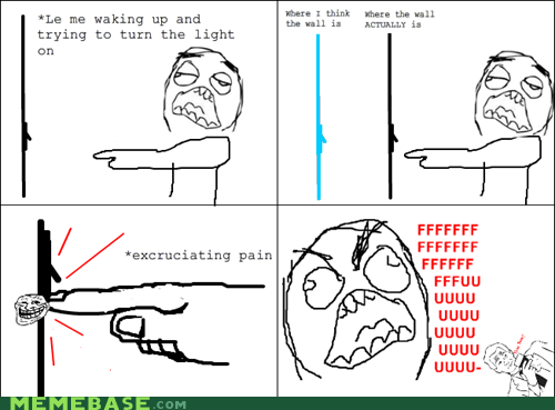 fu guy,pain,Rage Comics,stubbed finger,waking up