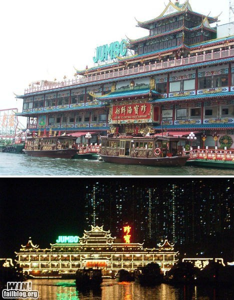boat China floating restaurant water