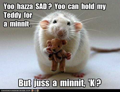 Yoo hazza SAD ? Yoo can hold my Teddy for a minnit . But juss a minnit, 'K ?
