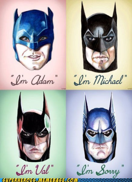 Adam West,Awesome Art,batman,george clooney,micheal keaton,val kilmer
