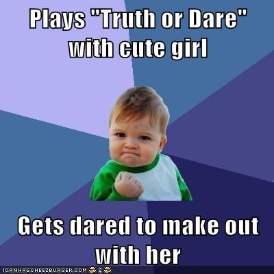 "Plays ""Truth or Dare"" with cute girl Gets dared to make out with her"