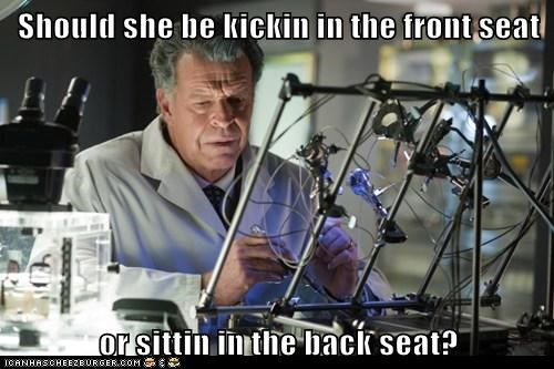 back seat,FRIDAY,Fringe,front seat,John Noble,kicking in,questions,Rebecca Black,Walter Bishop