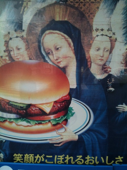 cheeseburger cheezburger engrish funny faith g rated hamburger mary religion - 5786377984