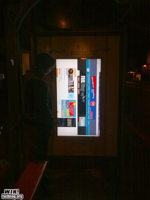 bus stop computer hacked hacked-irl-internet technology