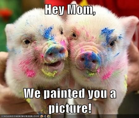 mom,paint,piglets