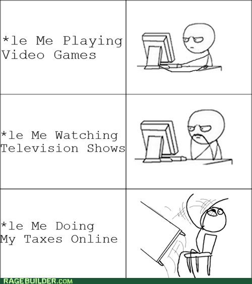 Rage Comics table flip taxes video games