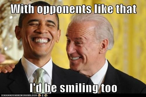 With opponents like that I'd be smiling too
