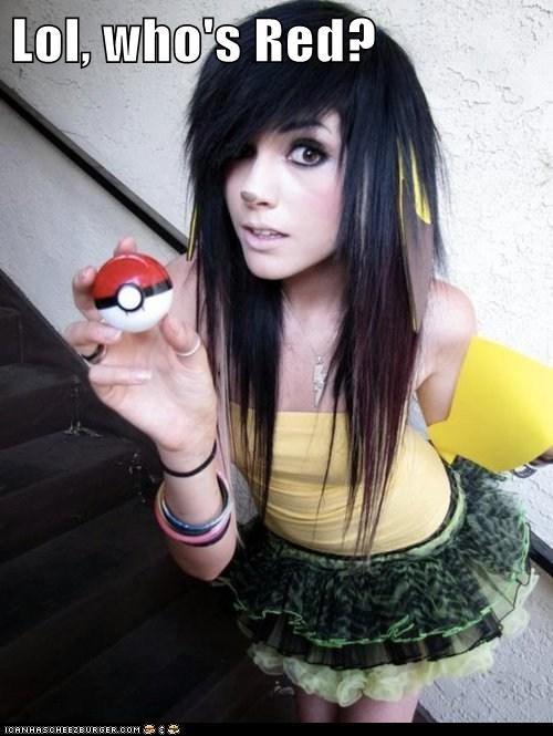 pikachu pokemon poser red scene weird kid