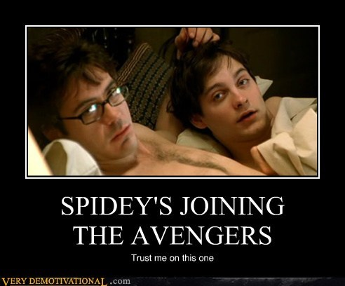 hilarious,ironman,robert downy jr,Spider-Man,spidey,tobey maguire