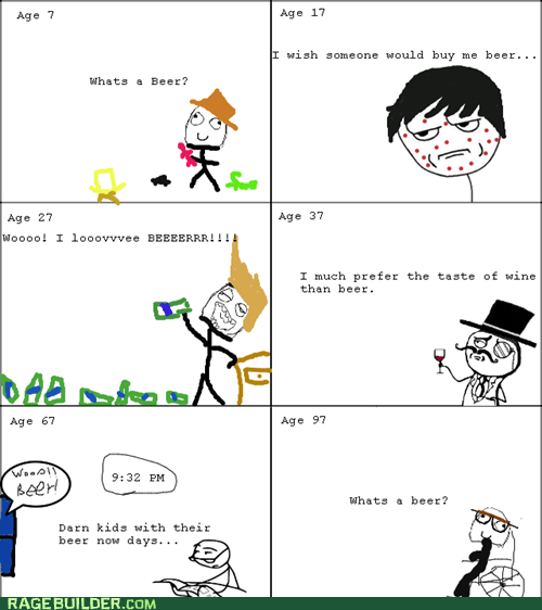 alcohol,beer,lifetime,Rage Comics,six stages