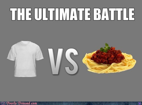sauce,showdown,spaghetti,stain,T.Shirt,white