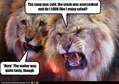 angry,eating,lion,restaurant,reviews,salad,steak,waiter