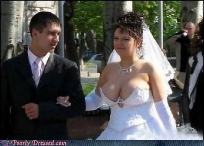 bewbs cleavage wedding dress white dress whoa buddy - 5792992768