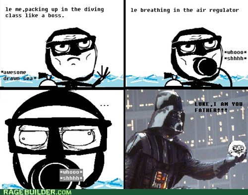 darth vader,diving,gentlemen,internet-memes-rage-comics-we-can-rule-the-sea-as-father-and-son,Rage Comics,respirator